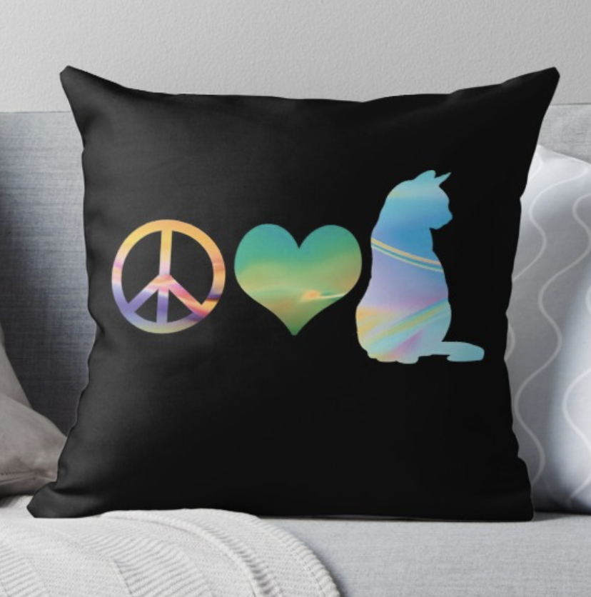 Peace Love & Cats Pillow