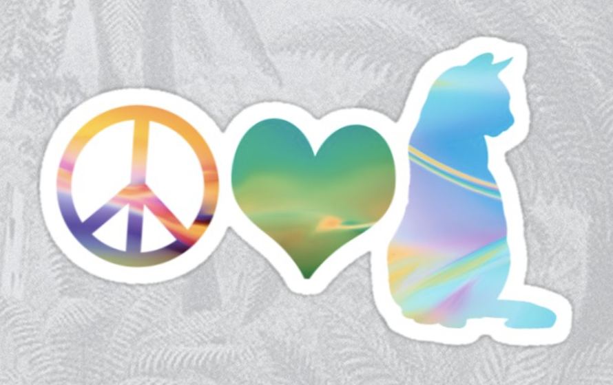 Peace Love & Cats Sticker