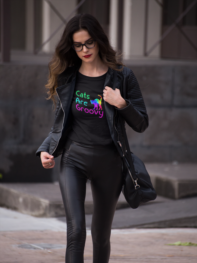 Woman wearing Cats are Groovy t-shirt