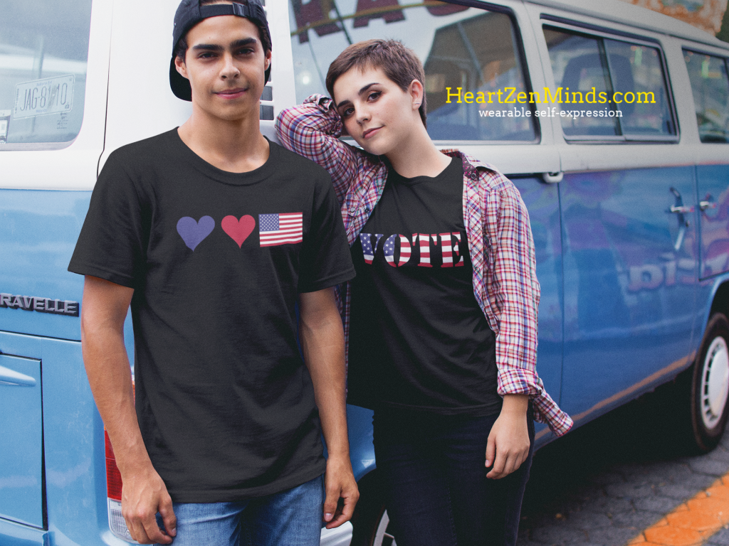 Couple wearing hearts & flags and Vote t-shirts