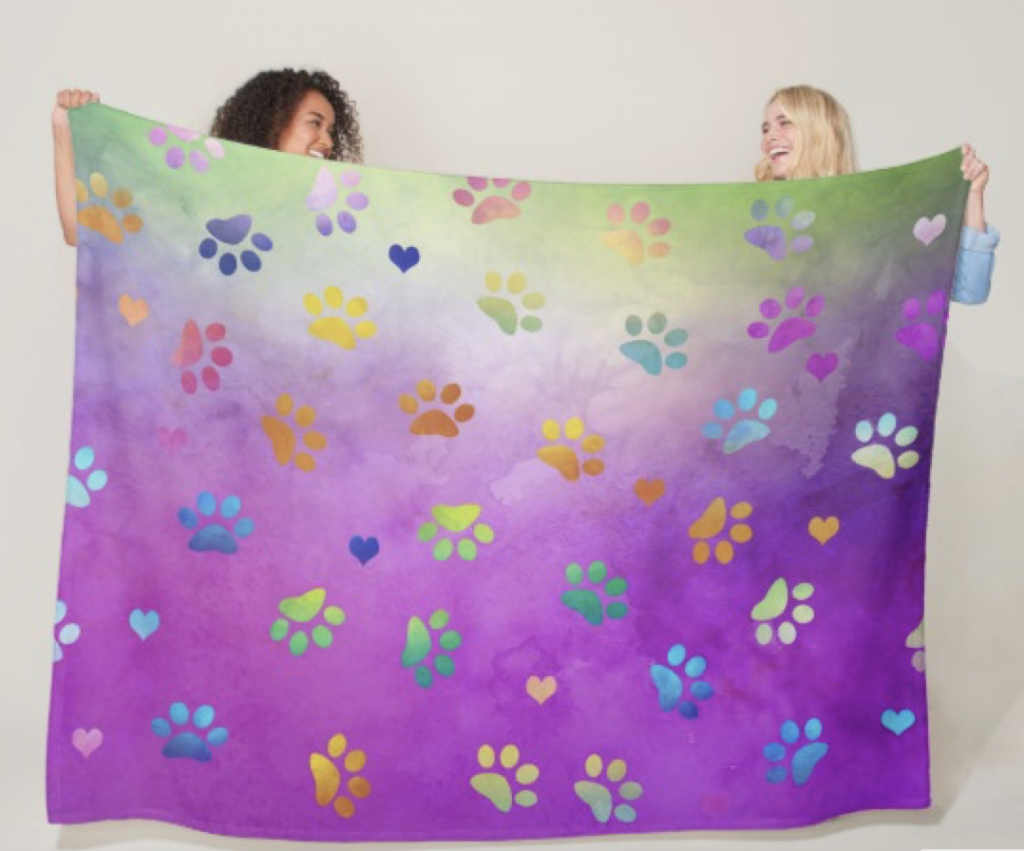 Colorful Large Paw Blanket