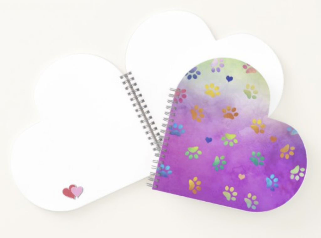 Colorful Paw Prints Heart Shaped Notebook