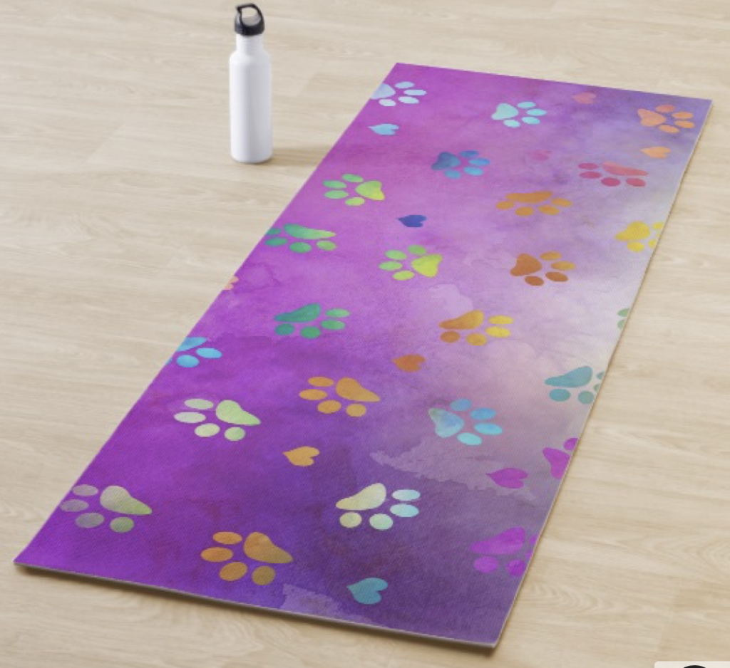 Colorful Paw Prints Yoga Mat