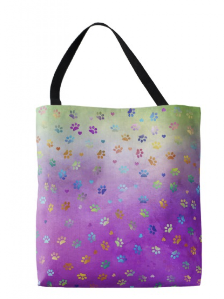 Colorful Paw Prints Tote