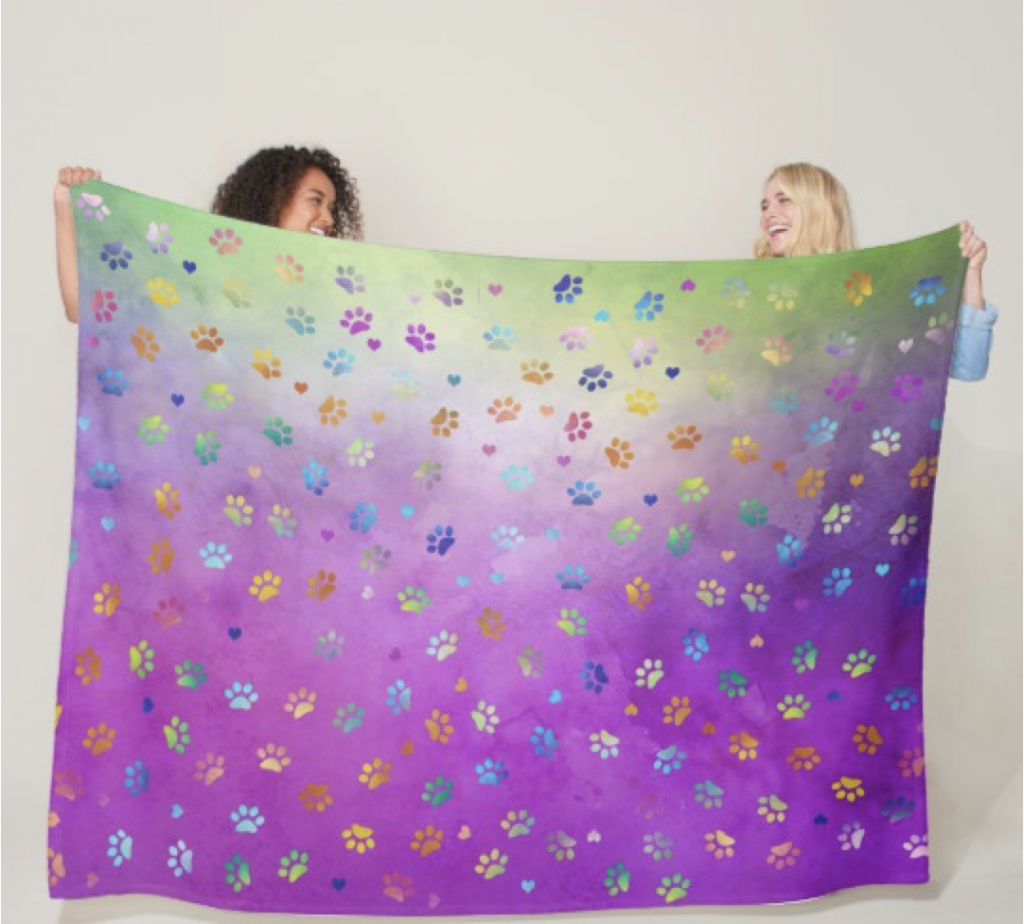 Colorful Small Paw Print Blanket