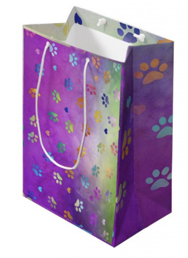 Colorful Paw Prints Gift Bag