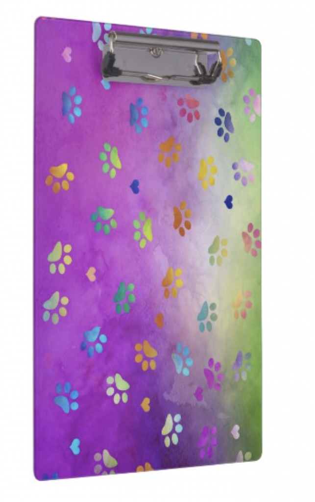 Colorful Paw Prints Clipboard