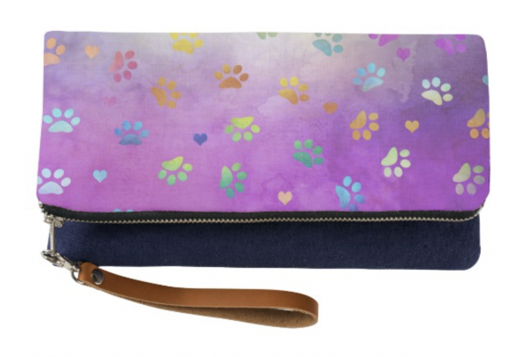 Colorful Paw Prints Clutch Wristlet