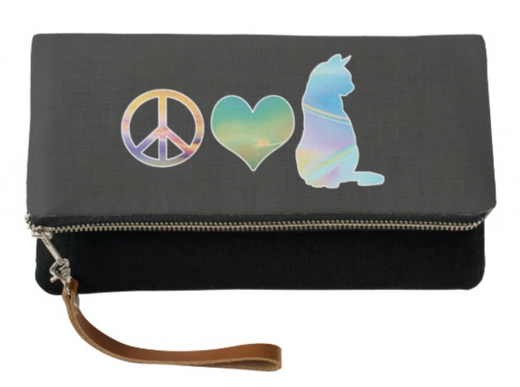 Peace, Love Cats Clutch Wristlet