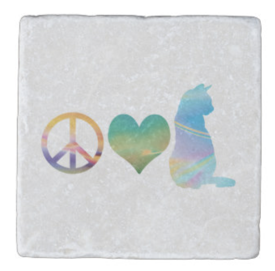 Peace Love Cats coasters