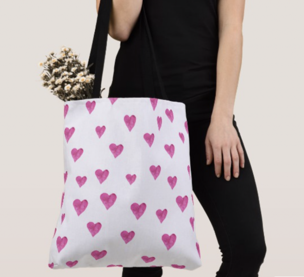Tote with pink hearts